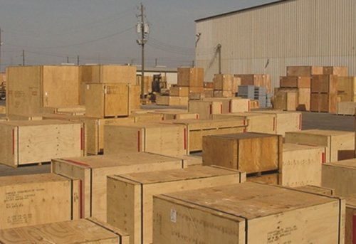 Export packing boxing crating project storage laydown yard